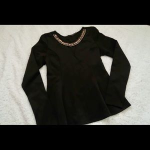 Peplum top with copper& silver embellishment